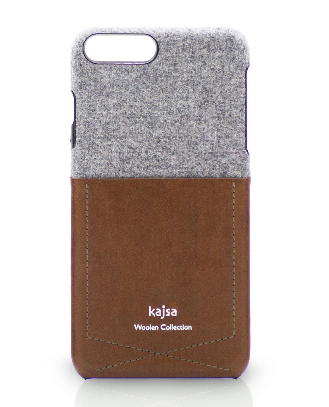 Foto einer Designer iPhone 8 Schutzhülle aus Wolle mit Tasche aus Leder