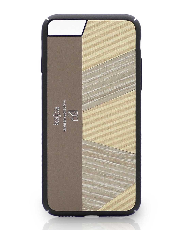 Eine Beige Schutzhülle Case aus echtem Holz kombiniert mit echtem Leder für das iPhone 8 Plus, das iPhone 8, das iPhone 7 und das iPhone 7 Plus.