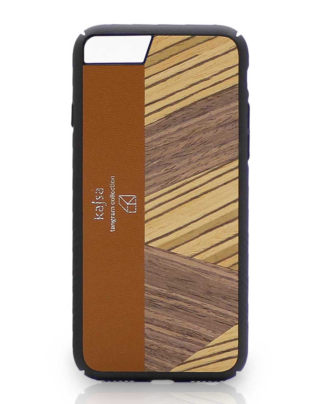 Eine Braune Schutzhülle Case aus echtem Holz kombiniert mit echtem Leder für das iPhone 8 Plus, das iPhone 8, das iPhone 7 und das iPhone 7 Plus.