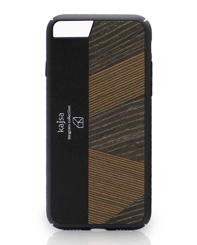 Eine Schwarz-Dunkelbraune Schutzhülle Case aus echtem Holz kombiniert mit echtem Leder für das iPhone 8 Plus, das iPhone 8, das iPhone 7 und das iPhone 7 Plus.