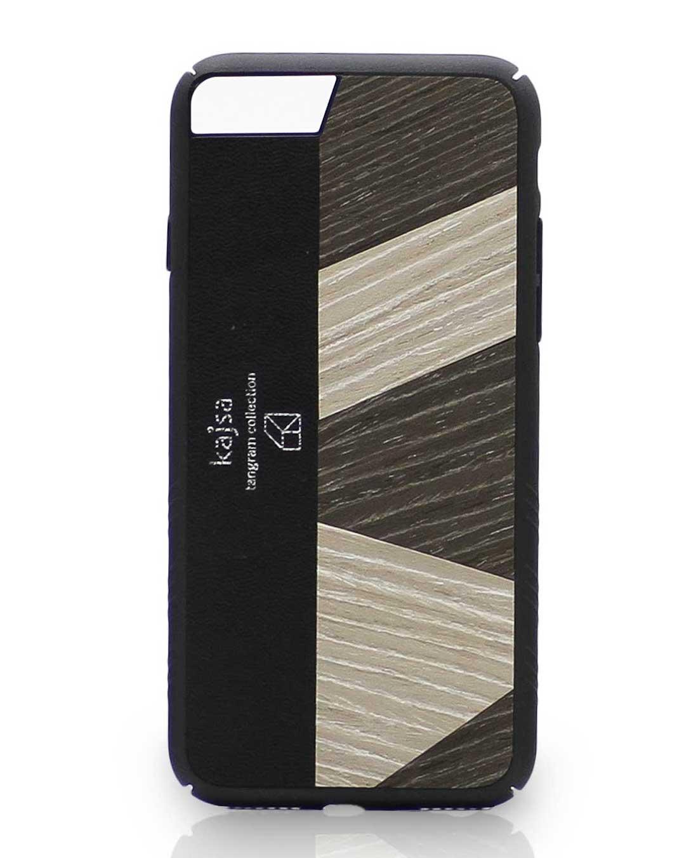 Eine Schwarz-Weiße Schutzhülle Case aus echtem Holz kombiniert mit echtem Leder für das iPhone 8 Plus, das iPhone 8, das iPhone 7 und das iPhone 7 Plus.