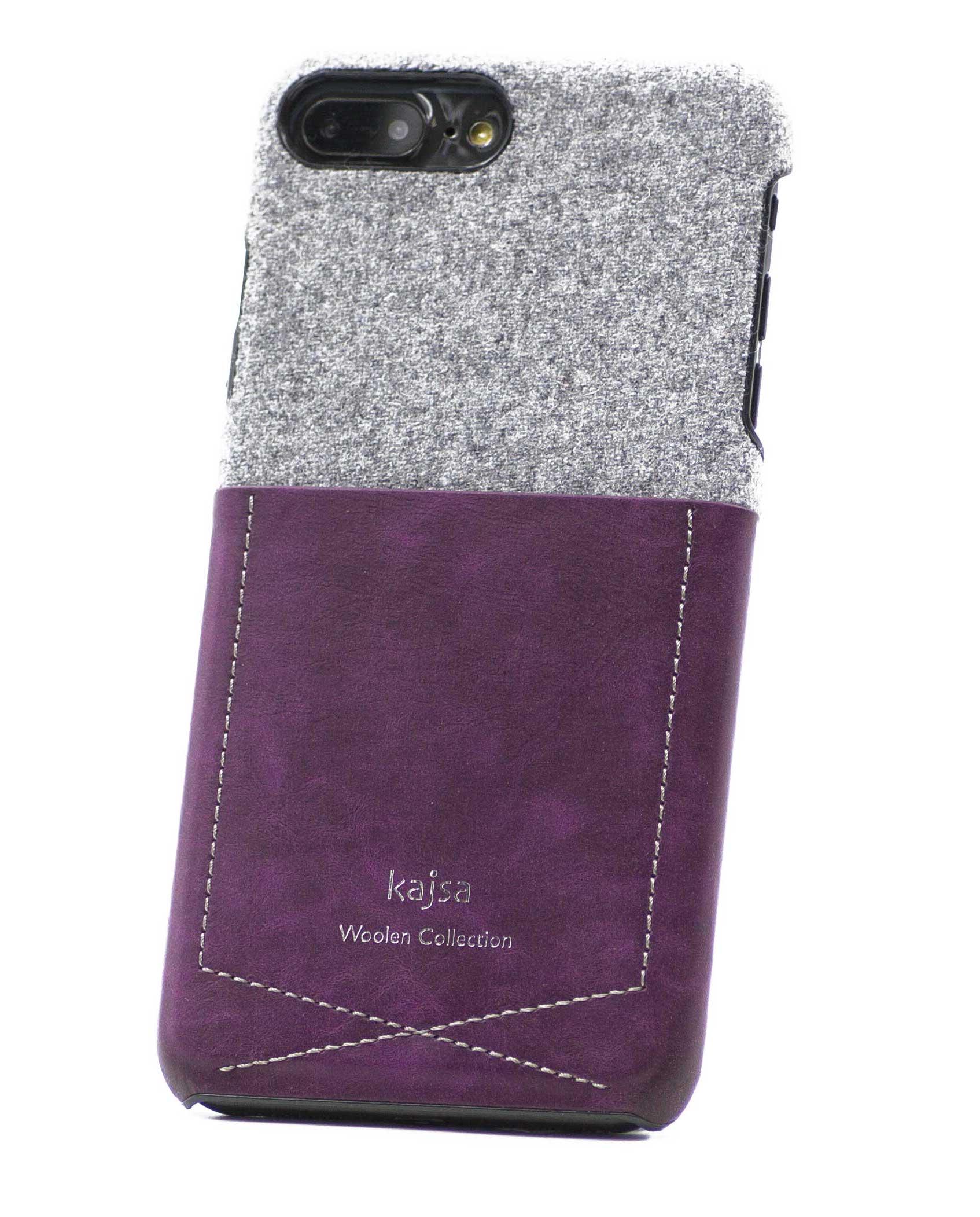 Perspektivisches Foto einer lila Schutzhülle Case aus echter Wolle kombiniert mit Leder für das iPhone 8 Plus, das iPhone 8, das iPhone 7 und das iPhone 7 Plus.