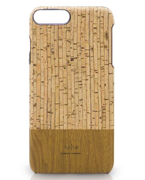 Eine Schutzhülle aus echtem Kork Holz mit Streifen Muster für das iPhone 8 Plus, das iPhone 8, das iPhone 7 und das iPhone 7 Plus.