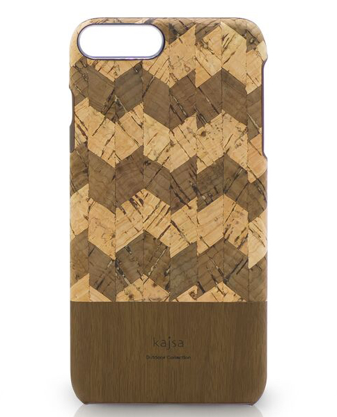 Eine Schutzhülle aus echtem Kork Holz mit ZickZack Muster für das iPhone 8 Plus, das iPhone 8, das iPhone 7 und das iPhone 7 Plus.