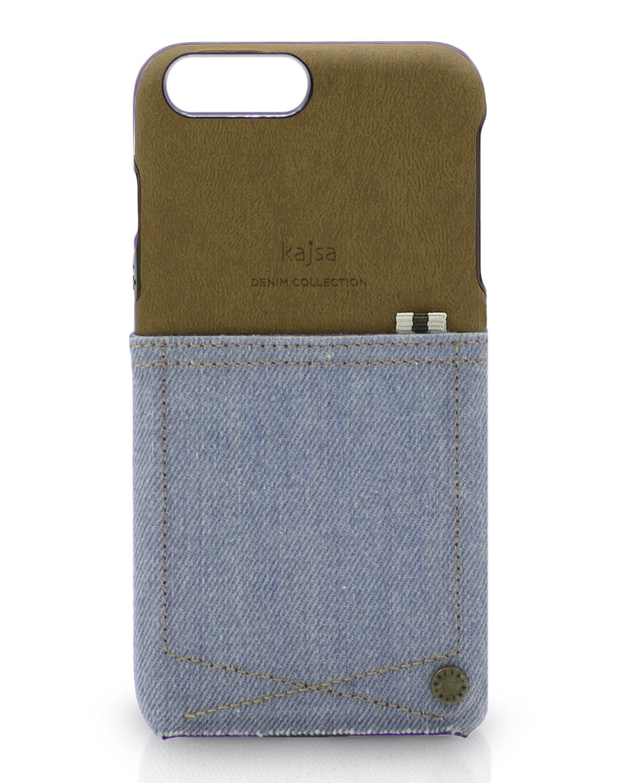 iPhone 8 und iPhone 7 Jeans Schutzhülle hellblau mit Tasche