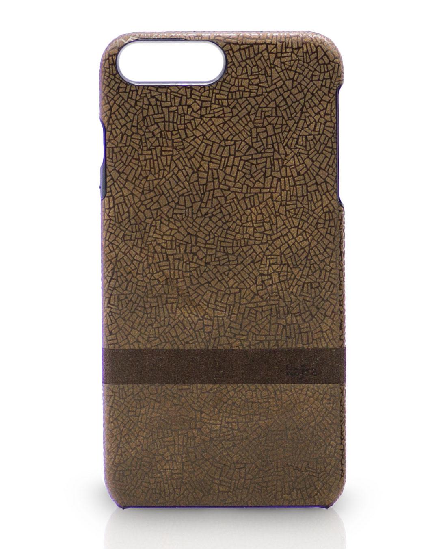 Braune iPhone 8 Schutzhülle Case Leder mit schönen Muster